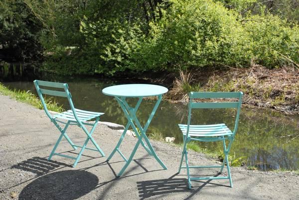 Bilde av Bistro sammenleggbart kafesett 2 stoler+bord Ø60 cm - havturkis