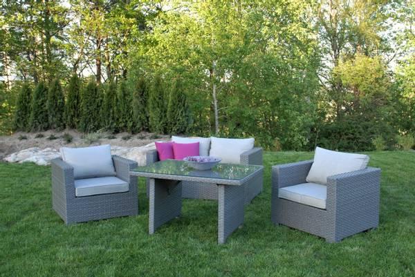 Bilde av Cube 2+1+1 sett m/puter+spisebord - gråmelert/strandgrå