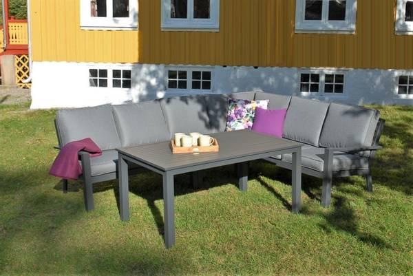 Bilde av Arena hjørnesofa sett m/puter+spisebord - antrasittgrå/mineralgrå