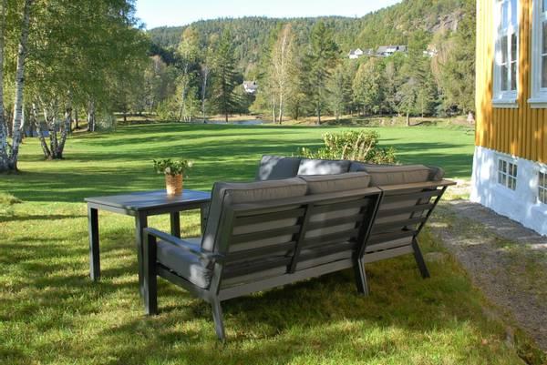 Bilde av Arena Kvadrat hjørnesofa sett m/puter+spisebord - antrasittgrå/mineralgrå