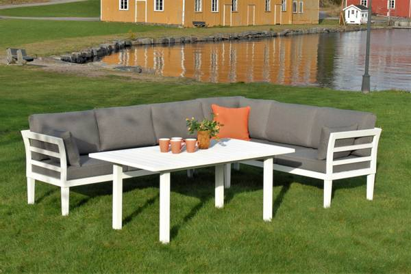 Bilde av Atlantis hjørnesofa sett m/puter+spisebord - hvit/mineralgrå