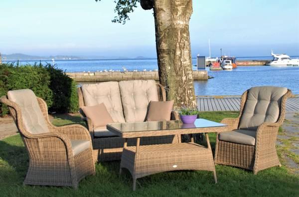 Bilde av Bristol 2+1+1 sett m/puter+bord - natur/patinagrå