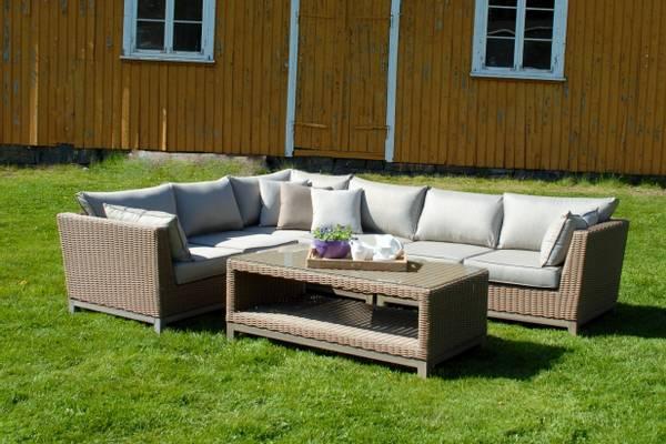 Bilde av Concept L hjørnesofa sett m/puter+salongbord - natur/patinagrå