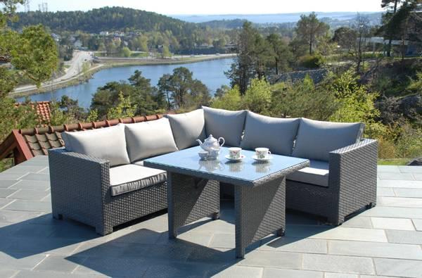 Bilde av Cube hjørnesofa sett m/puter+spisebord - gråmelert/strandgrå