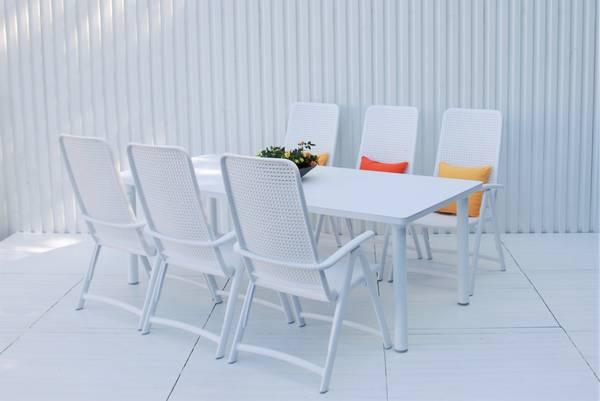 Bilde av Nardi Darsena sett 6 posisjonsstoler+uttrekksbord - hvit