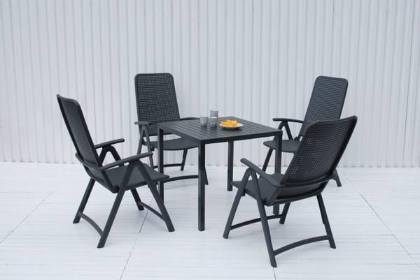 Bilde av Nardi Darsena sett 4 posisjonsstoler+Cube bord 80x80 cm