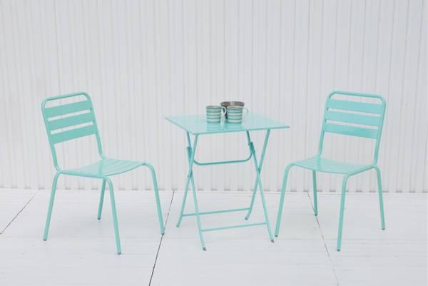 Bilde av Frøya kafesett 2 stoler+bord - turkis