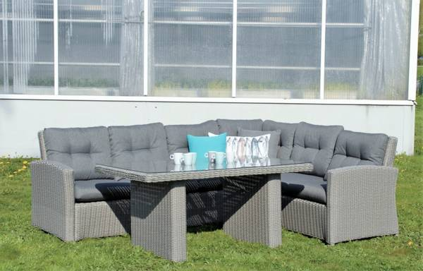 Bilde av Granada hjørnesofa sett m/puter+spisebord - askegrå/skifergrå