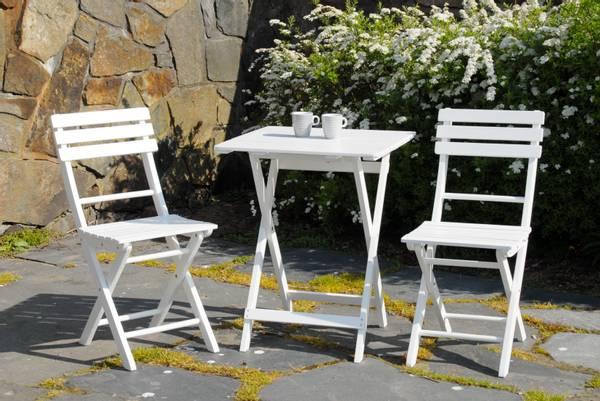 Bilde av Åre sammenleggbart kafesett 2 stoler+bord 58x58 cm - hvit