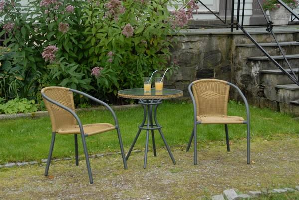 Bilde av Nancy sett 2 stoler+bord Ø64 cm  - antrasitt/bambus