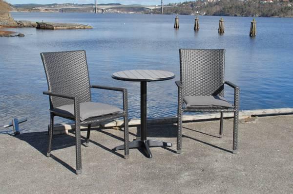 Bilde av Praha sett 2 stablestoler+bord Ø60 cm - tjæresort