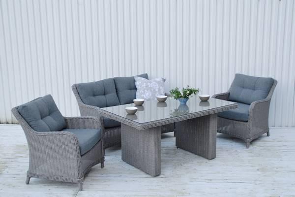Bilde av Savanna 2+1+1 sett m/puter+spisebord - askegrå/fjellgrå