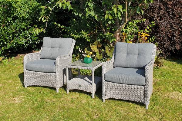 Bilde av Savanna sett 2 stoler m/puter+bord - askegrå/fjellgrå