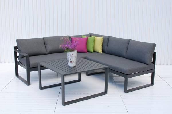 Bilde av Variant hjørnesofa sett m/puter+bord - antrasittgrå/skifergrå