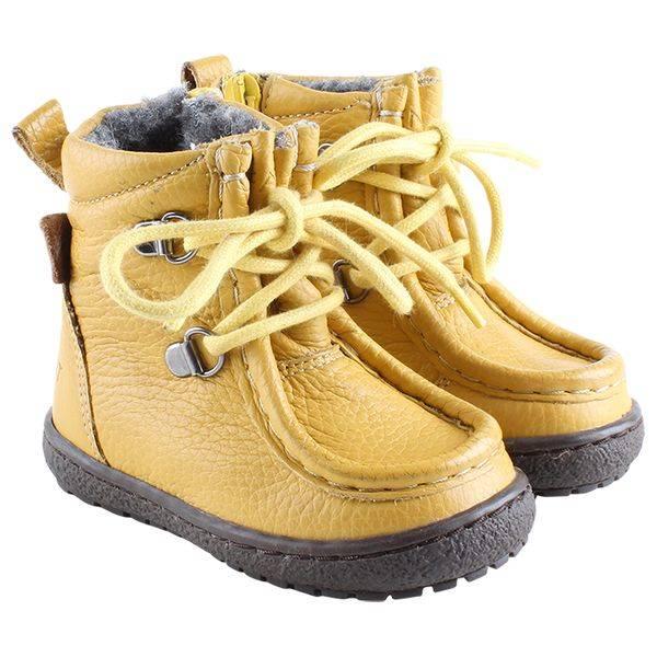 En Fant Lace/Zip Tex Leather Sko, Yellow