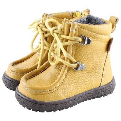Bilde av En Fant Lace/Zip Tex Leather Sko, Yellow