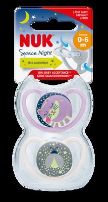 Bilde av NUK Smokk Space Night 6-18m, 2-pk Cat/Fitefly