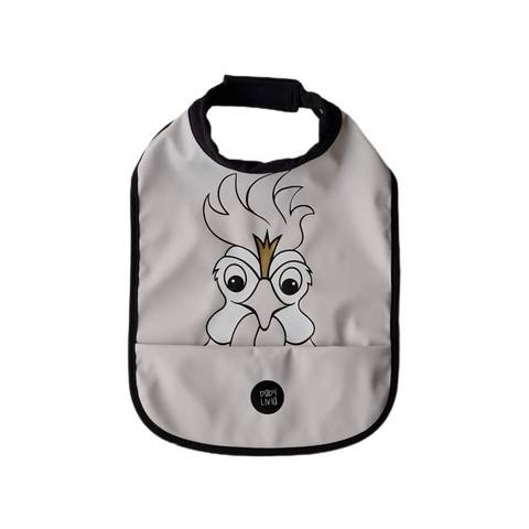 Image of High neck bib - Rooster Rainy Day