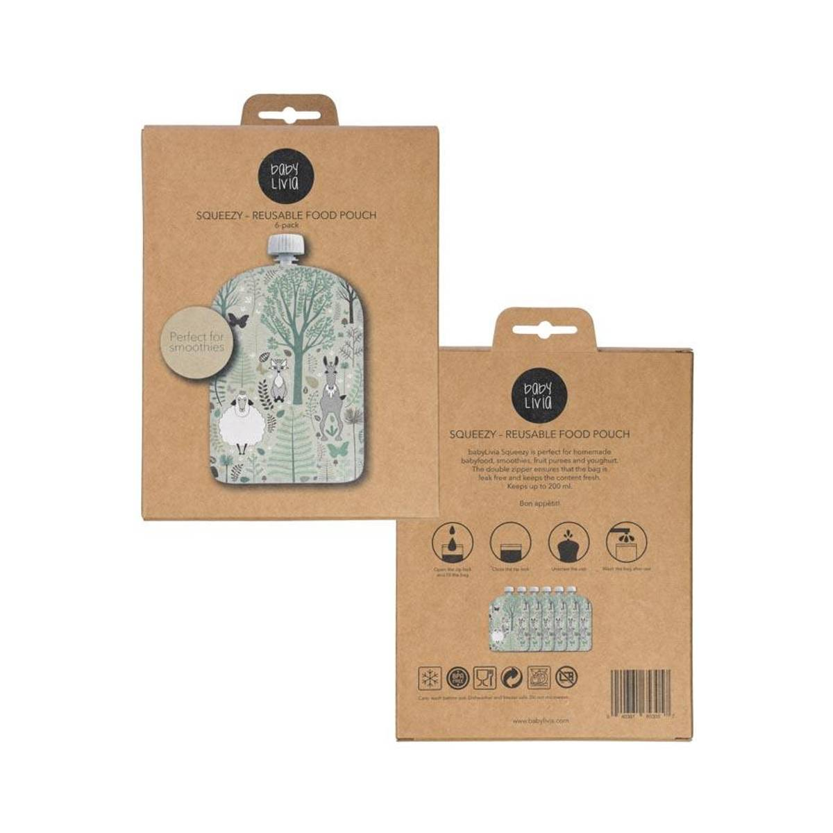 Squeezy - Reusable food pouch 6-pack Forest