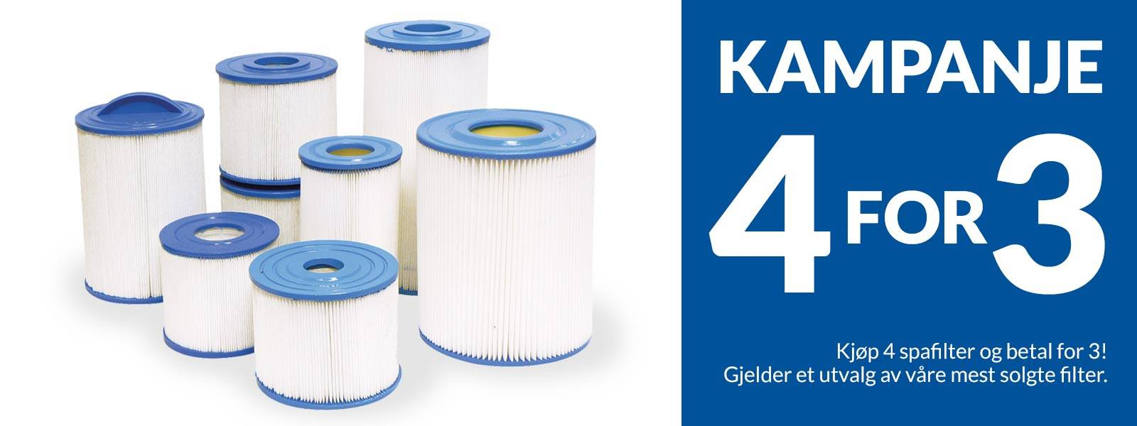 Kampanje, 4 for 3 på alle spafilter. Vi har et godt utvalg av filtertyper som brukes av mange spabad-produsenter.