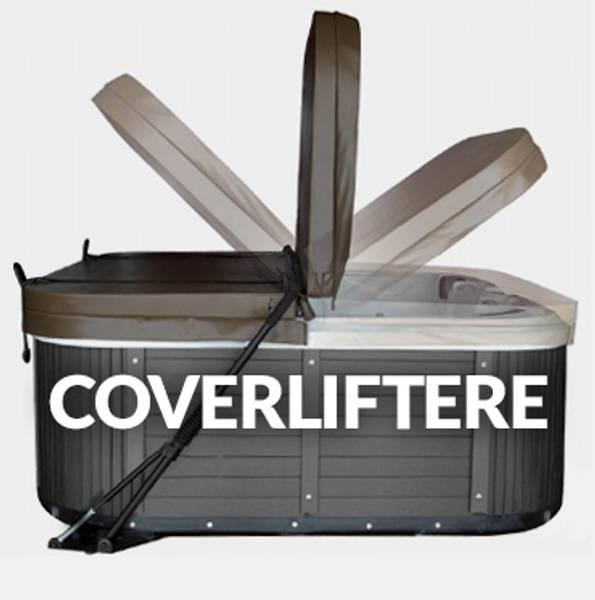 Lokkløfter til spabad. Vi fører en universal lokkløfter til boblebad som kan benyttes på de fleste utendørs spabad. Den har gassdempere som gjør løftet mye enklere, i tillegg til å la coveret stå oppe på den ene siden mens du bader. Skruefri montering.