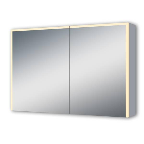 Linnie speilskap 120cm, alu, m/ stikk og LED-belysning