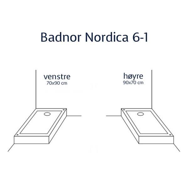 Badnor Nordica 6-1 dusjkabinett venstre 70x90cm, HVIT/ KROM