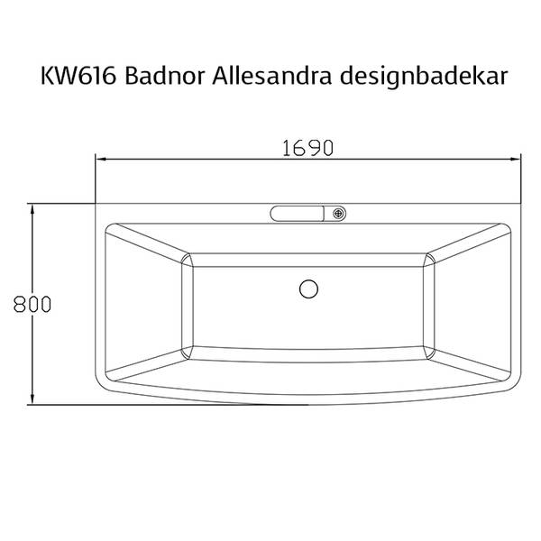 Badnor Allesandra designbadekar m/ innb. blandebatteri 169x80cm