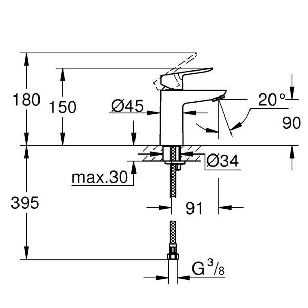 Grohe BauEdge ettgreps servantbatteri