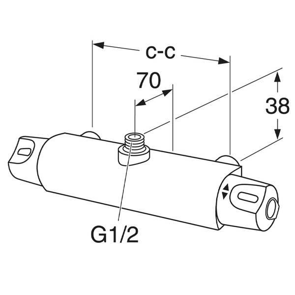 Gustavsberg Nautic dusjbatteri, uttak opp