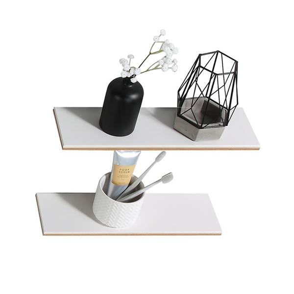 Madeleine 40cm dekorhylle i silkestein LYS EIK/ HVIT
