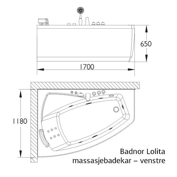 Badnor Lolita massasjebadekar 170x118cm, Venstre