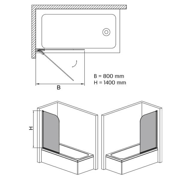 Badnor Open badekarvegg 80x140cm (hev/ senk) Venstre
