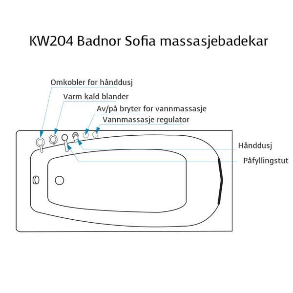 Badnor Sofia massasjebadekar 150x70cm