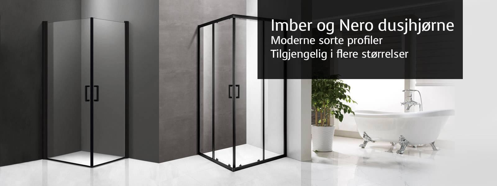 Imber og Nero dusjhjørne med matt sorte profiler. Nero dusjhjørne fås firkantet eller med buet front, 80x80cm 90x90cm og 100x100cm. Imber dusjdører i 70cm, 80cm, 90cm og 100cm kan kombineres fritt til ønsket størrelse på dusjhjørne.