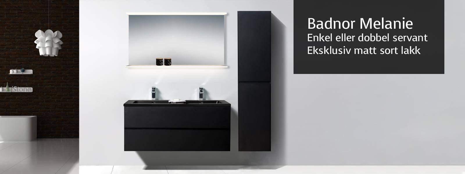 Melanie-serien er moderne og slitesterke baderomsmøbler i tidsriktig matt svart utførelse og sort servant. Servantskap flere størrelser, 75cm, 90cm og 120cm. Sistnevnte er tilgjengelig med både enkel og dobbel servant i sort quartz sand kompositt.