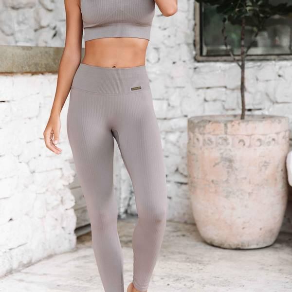 Bilde av Seamless Ribbed Tights Cafe Latte