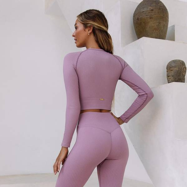 Bilde av Seamless Ribbed Crop Long Sleeve Blush