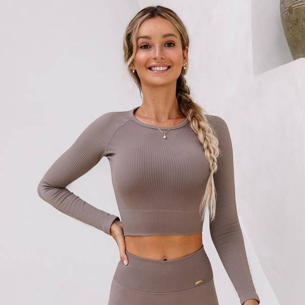 Bilde av Seamless Ribbed Crop Long Sleeve Cafe Latte