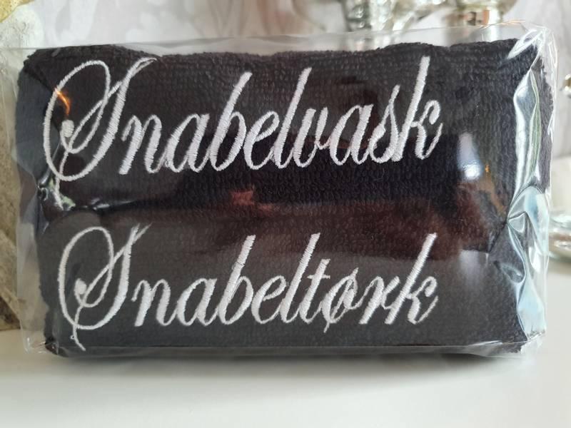 Snabelvask og Snabeltørk sort med hvit skrift