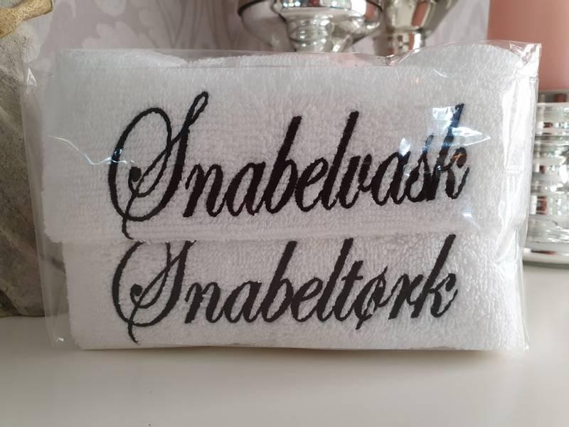 Snabelvask og Snabeltørk hvit med sort skrift