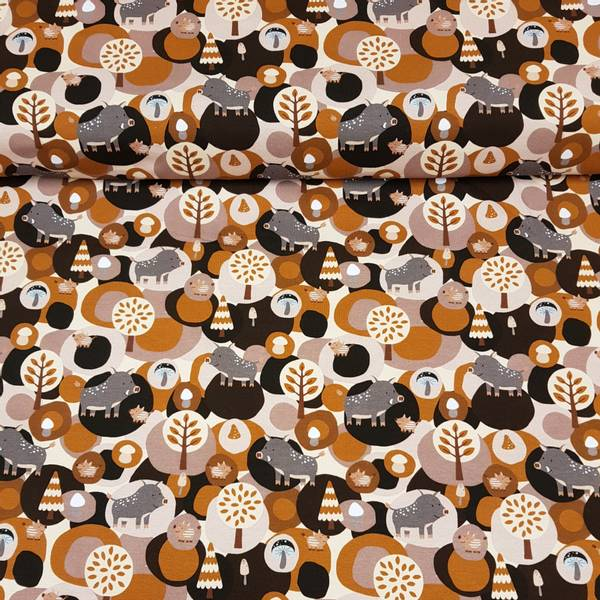 Villsvin brun - bomull jersey