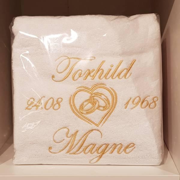 Håndkle til bryllup 70x140