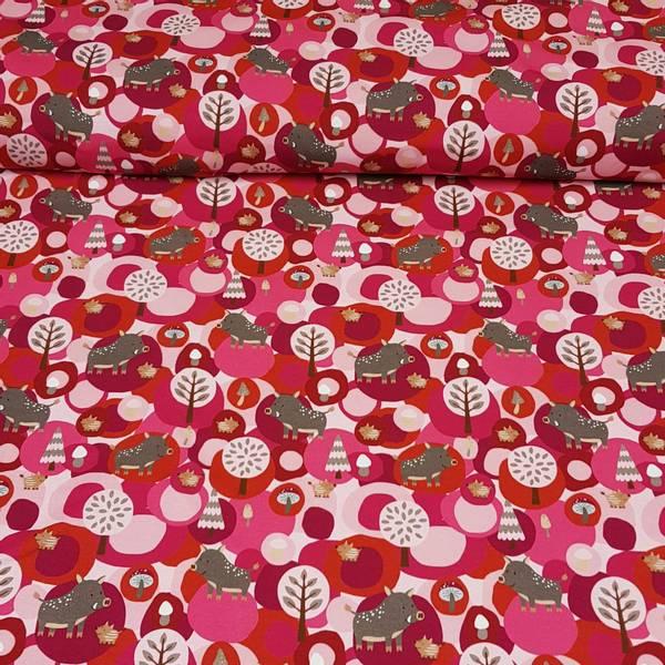 Villsvin rosa - bomulls jersey