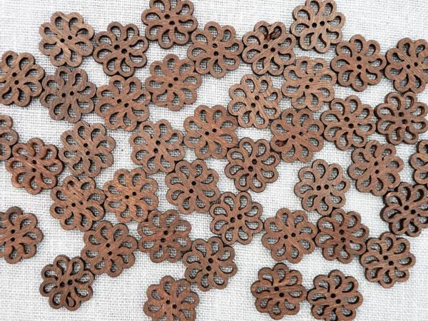 Bilde av Knapp av tre, blomsterformet