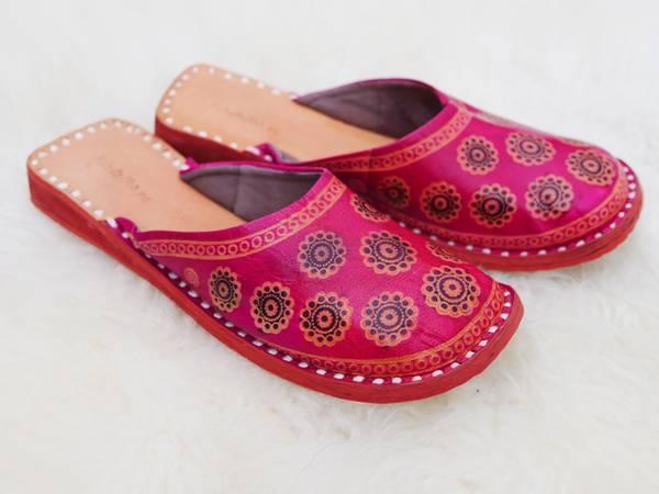 Bilde av Indiske skinntøfler - rosa