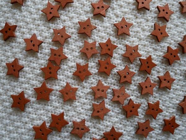 Bilde av Knapp av tre, stjerne