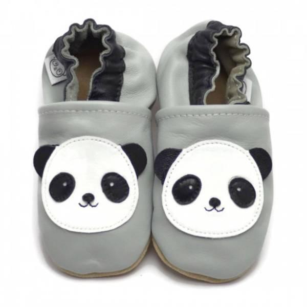 Bilde av Grå skinntøfler med panda fra Panda Feet