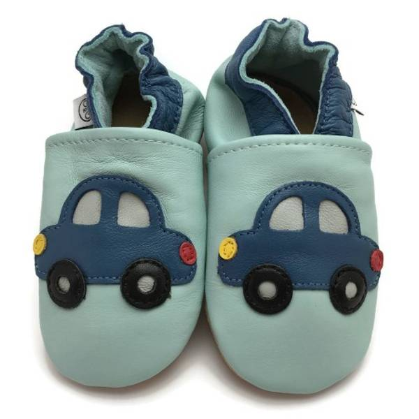 Bilde av Blå skinntøfler med bil fra Panda Feet