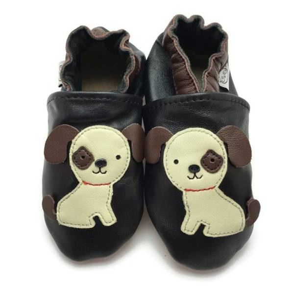 Bilde av Svarte skinntøfler med hund fra Panda Feet